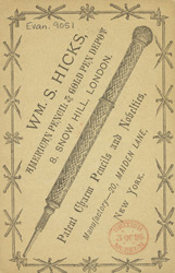 Advert for WS Hicks, American pencil & gold pen depot, reverse side